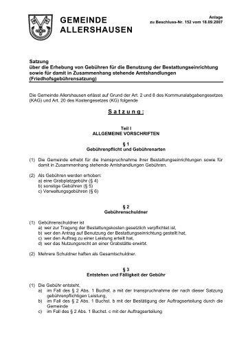 Gebührensatzung2007-endgültige Fassung - Gemeinde Allershausen