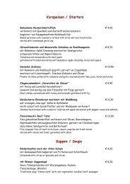 Vorspeisen / Starters Suppen / Soups - Hotel Feinschmeck