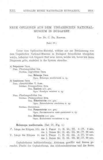 (1915b) Neue Opiliones Ungarischen National ... - Museu Nacional