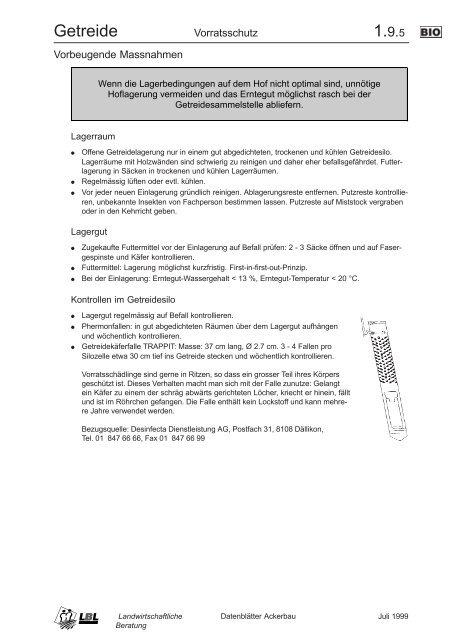 Vorbeugende Massnahmen; Bekämpfung - agrigate.ch