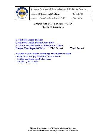 Creutzfeldt-Jakob Disease (CJD) Table of Contents - Missouri ...