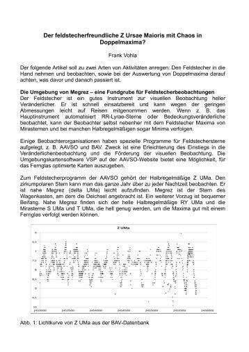 Der feldstecherfreundliche Z UMa mit Chaos in Doppelmaxima? - BAV