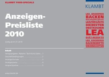 Anzeigen- Preisliste 2010 - Klambt-Verlag