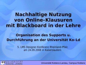 Nachhaltige Nutzung von Online-Klausuren in der Lehre - VCRP