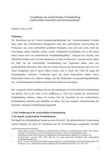 Grundfragen der strafrechtlichen Produkthaftung (insbesondere ...