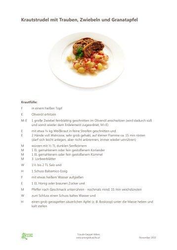 Krautstrudel mit Trauben, Zwiebeln und Granatapfel