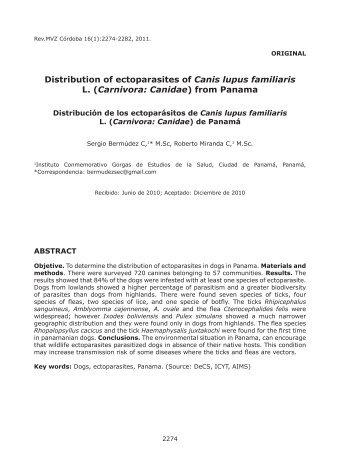 Distribution of ectoparasites of Canis lupus familiaris L. (Carnivora ...
