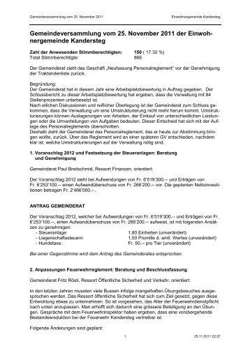 Pressebericht - Einwohnergemeinde Kandersteg