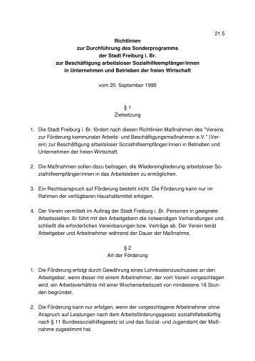 21.5 Richtlinien zur Durchführung des Sonderprogramms der Stadt ...