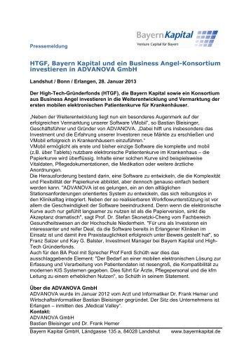 HTGF, Bayern Kapital und ein Business Angel-Konsortium ...
