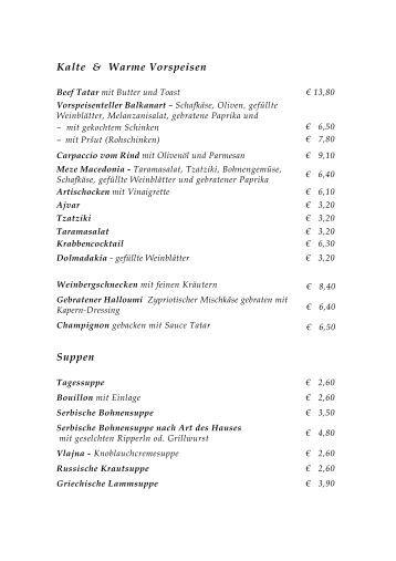 Cafe Gloriette Speisekarte
