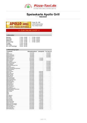 Apollo Grill in 24536 Neumünster, Kieler Str. 298 - Pizza Taxi
