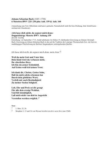 Johann Sebastian Bach (1685–1750) 6 Motetten BWV 225–230 ...