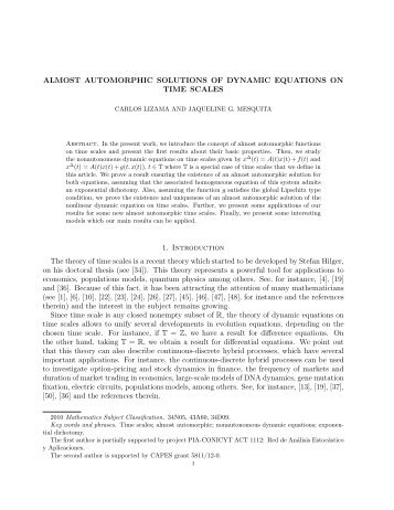 ALMOST AUTOMORPHIC SOLUTIONS OF DYNAMIC EQUATIONS ...