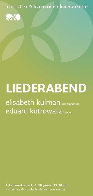 Liederabend - Meister & Kammerkonzerte