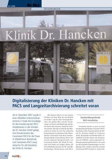 Digitalisierung der Kliniken Dr. Hancken mit PACS ... - Medizin-EDV
