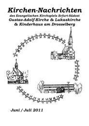 Kirchennachrichten des Ev. Kirchspiel Erfurt Südost vom Juni bis ...