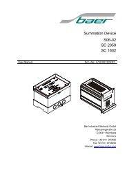 Summation Device S06-02 SC 2059 SC 1602 - Baer Gmbh