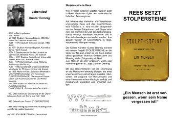 Stolpersteine _Flyer - Stadt Rees