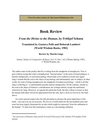 """Book Review by Martin Lings of Frithjof Schuon's """"From the Divine to ..."""