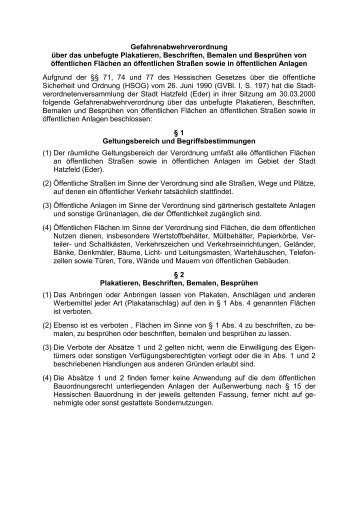 Gefahrenabwehrverordnung über das unbefugte ... - Stadt Hatzfeld