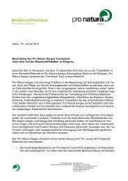 Aarau, 18. Januar 2013 Beschlüsse des Pro Natura Aargau ...