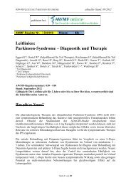Leitlinien: Parkinson-Syndrome – Diagnostik und Therapie - AWMF