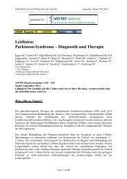 Leitlinien: Parkinson-Syndrome – Diagnostik und Therapie - AWMF