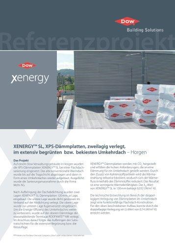 XENERGY™ SL, XPS-Dämmplatten, zweilagig verlegt, im extensiv ...