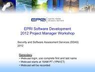 2012 EPRI Project Manager Software Development Workshop