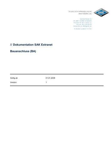 // Dokumentation SAK Extranet Bauanschluss (BA)