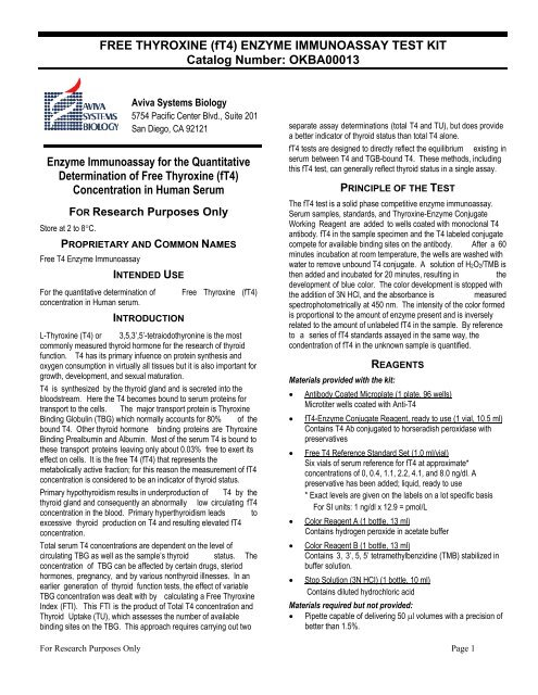 Free Thyroxine Ft4 Enzyme Immunoassay Test Kit