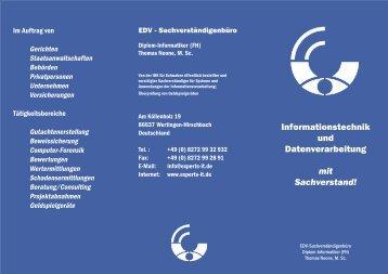 Info-Flyer als PDF - EDV-Sachverständigenbüro Thomas Noone