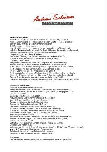 Speisevorschläge - Catering Service Schriever