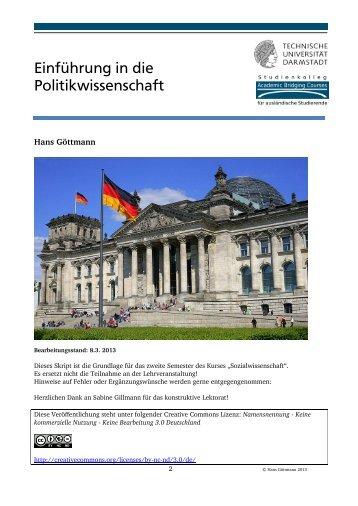 Einführung in die Politikwissenschaft - Studienkolleg Darmstadt