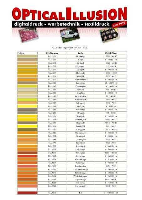 Ral Farben Umgerechnet Auf C M Y K Farbton Ral Nummer