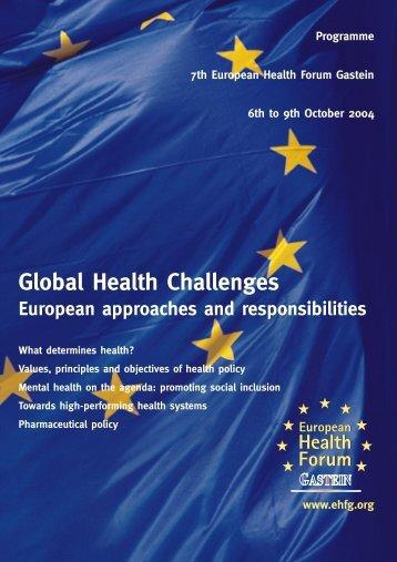 Programme - European Health Forum Gastein