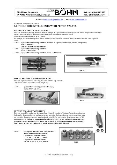 9 0  tools for instruments with piston valves E 2012 - brass
