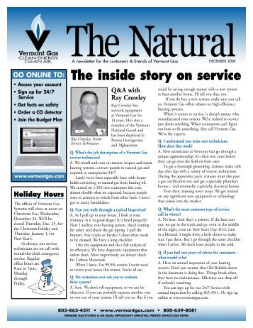 The inside story on service - Vermont Gas Systems, Inc.