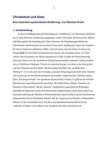 Christentum und Islam - Vorträge von Reinhart Gruhn