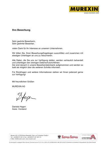 Bewerbungsfragebogen (PDF) - Murexin AG