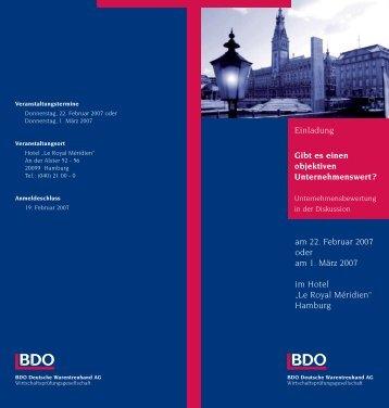 Einladung Gibt es einen objektiven Unternehmenswert? am ... - BDO