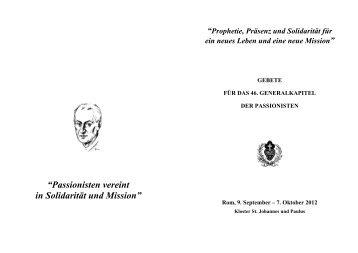 """""""Passionisten vereint in Solidarität und Mission"""" - Passio Christi"""