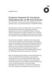 Schweizer Solarpreis für innovatives Gebäudekonzept mit BP Solar ...