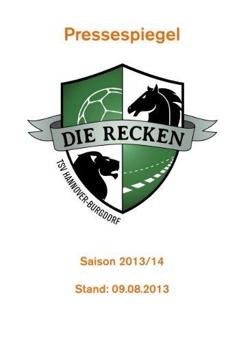 RECKEN-Pressespiegel vom 09.08.2013 - TSV Hannover-Burgdorf
