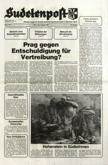 Prag gegen Entschuldigung für Vertreibung? - Sudetenpost