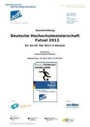 Deutsche Hochschulmeisterschaft Futsal 2013 - Allgemeiner ...