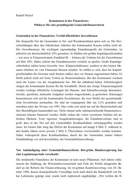 Rudolf Hickel Kommunen in der Finanzkrise - Arbeitsgruppe ...