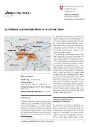 LäNDER FACTSHEET - Deza - admin.ch