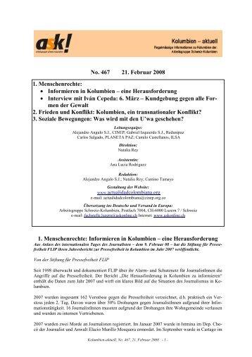 Kolumbien-aktuell No. 467 / 8. Februar 2008 - ask! Arbeitsgruppe ...